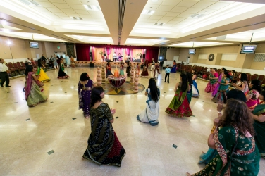 Their garba was held at the Jain Center of Southern California. It's a stunning venue architecturally and inside as well with beautiful marble floors, audio and visual equipment.