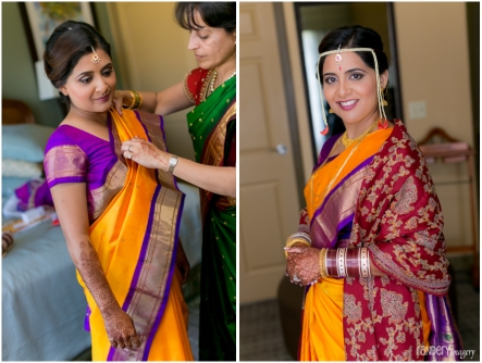 Beautiful Sanika in her traditional Maharastran sari and mundavalya headpiece.