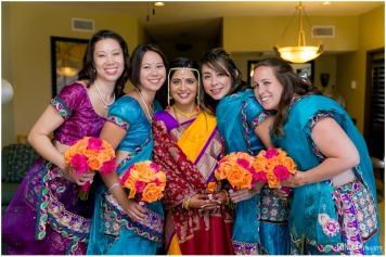 Sanika had the bridesmaids lehengas made in India. With the help of dear friends in India and technology (Whats App) they found the lehengas, got them made and brought to the US. Best of all, only ONE person needed additional alterations after the lehengas arrived.