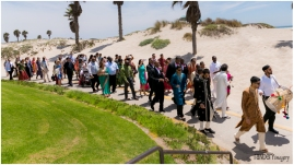 The Embassy Suite's beautiful, beach-lined pathway - awesome for a baraat!