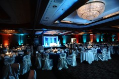 Another view of the ballroom setup for a reception. You can see the sweetheart table setup for the bride and groom.
