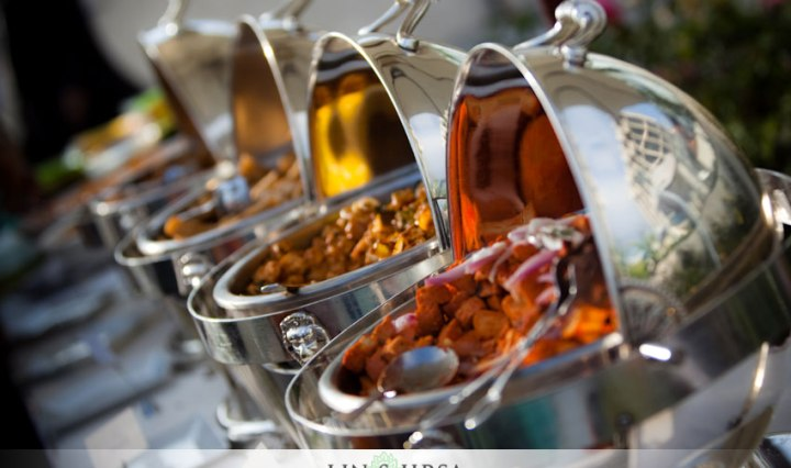 chafing dishes setup for a wedding reception