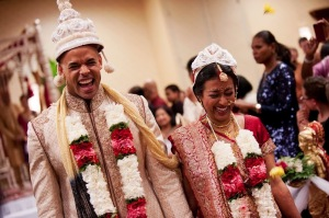 Indian, Bengali, Hindu wedding indoors in Pittsburgh. The bride is Bengali and the groom non-Indian Christian. They did two ceremonies at one venue.