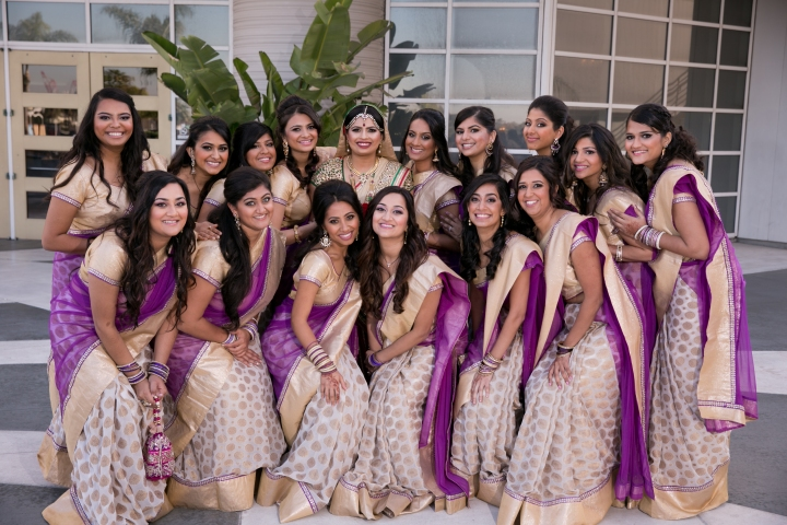 Indian bride with her bridesmaids in Long Beach, CA