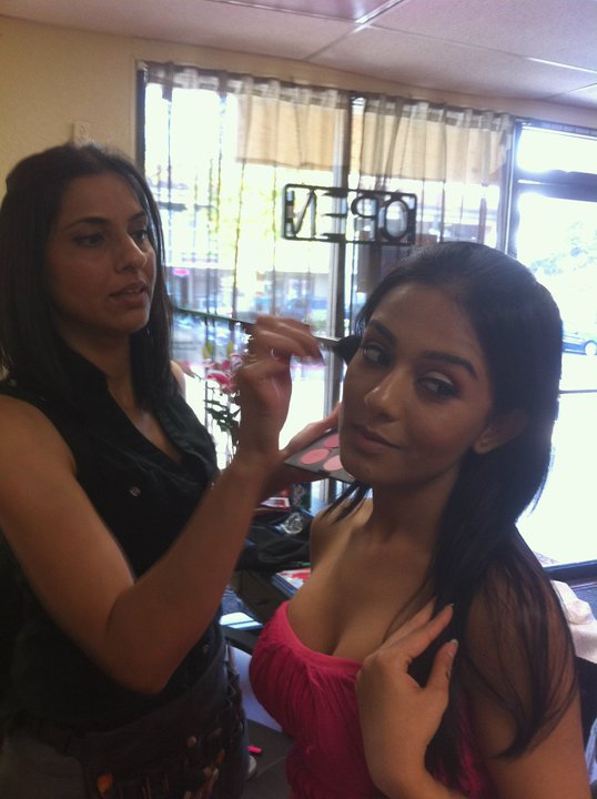 Bollywood actress, Amrita Rao, getting her makeup done by Ruby.