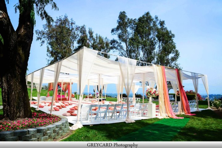 Wedding canopy and flooring on the grass