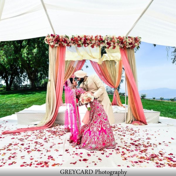 OUtdoor Sikh wedding, not in the Gurdwara. THey put a sub-flooring so their guests would be comfortable.