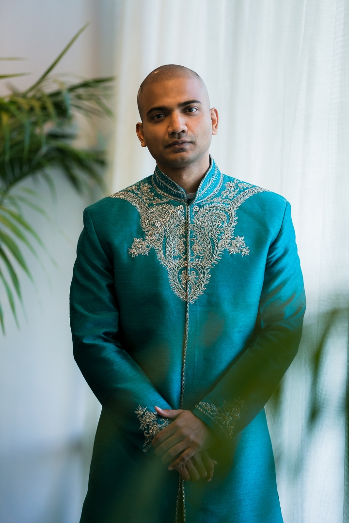 Newport-Beach-Marriott-Indian-Wedding-Photography-blue-achkan-sherwani-Artesia