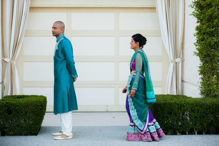 Newport-Beach-Marriott-Indian-Wedding-Photography-sangeet-first-look