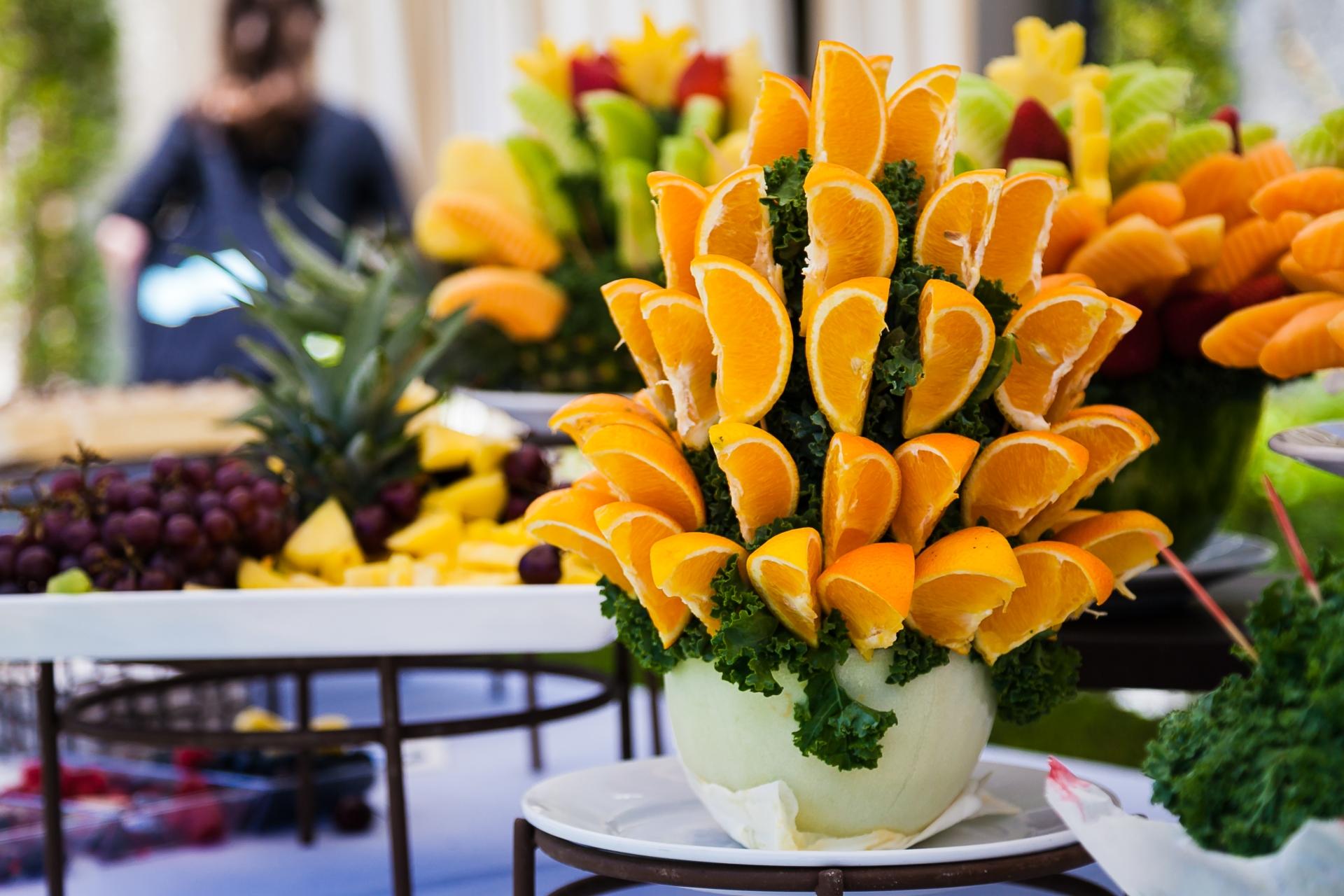 fruit display at an Indian wedding