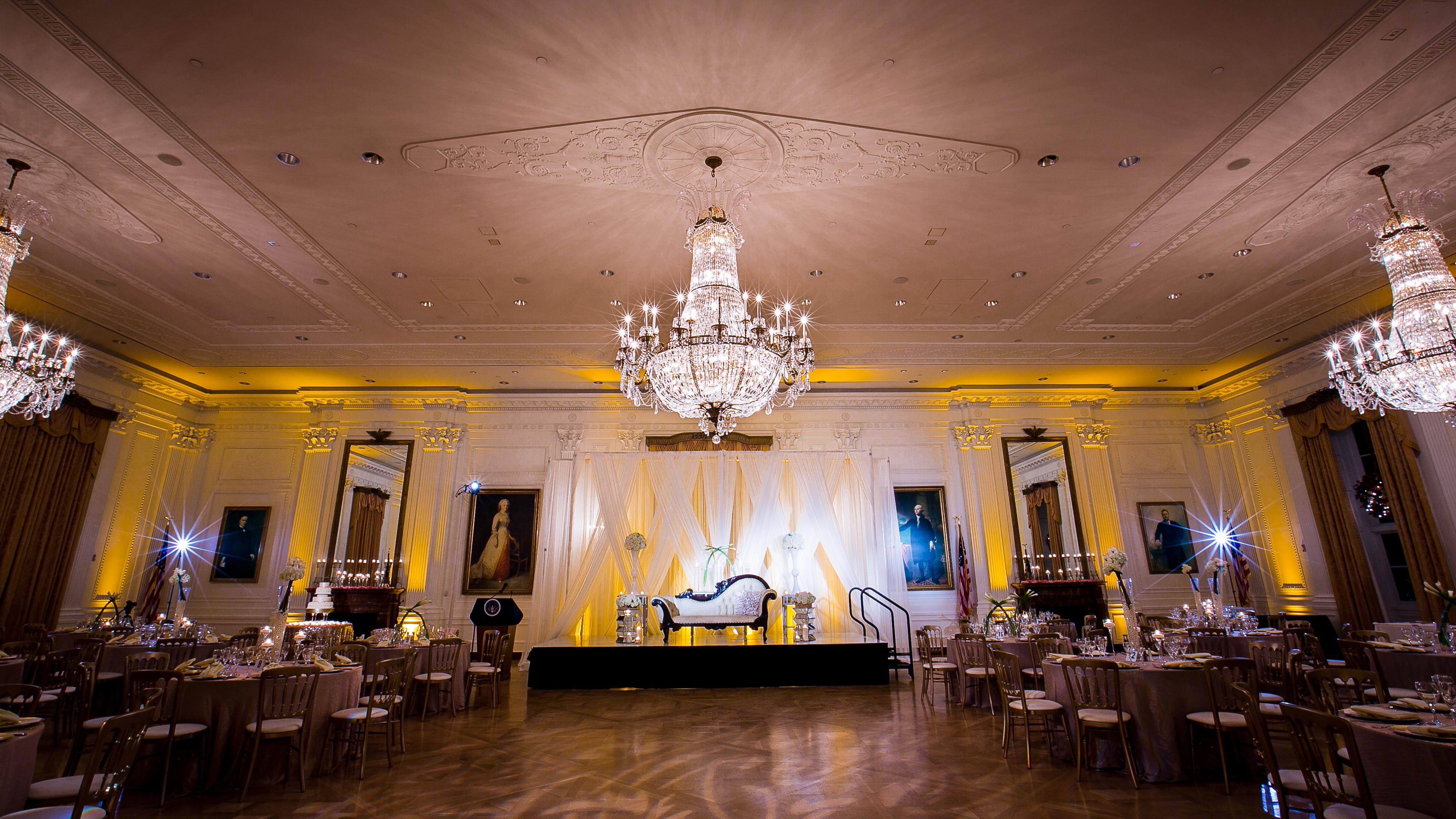 Fell in love with the venue heena and azhar richard nixon richard nixon library chandelier ballroom arubaitofo Choice Image