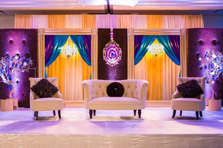 Newport-Beach-Marriott-Indian-Wedding-Photography-sweetheart-table-stage-decor-purple-blue