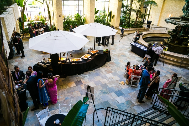 cocktail-hour-Atrium-Newport-Beach-Marriott-Indian-South-Asian-wedding
