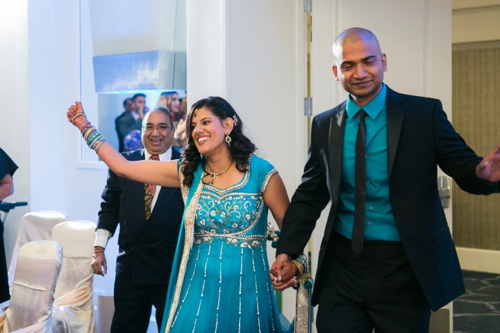 Newport-Beach-Marriott-Indian-Wedding-bride-groom-grand-entrance-bridal-gown-blue