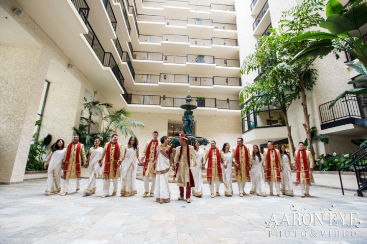 Reha-Vijay-Newport-Beach-Marriott-South-Asian-wedding-Indian_wedding-Hindu-Jain-North_Indian-Gujarati-lehenga-sera-fountain-The-Atrium