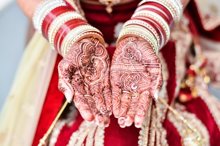 An Indian bride's mehndi on her two hands