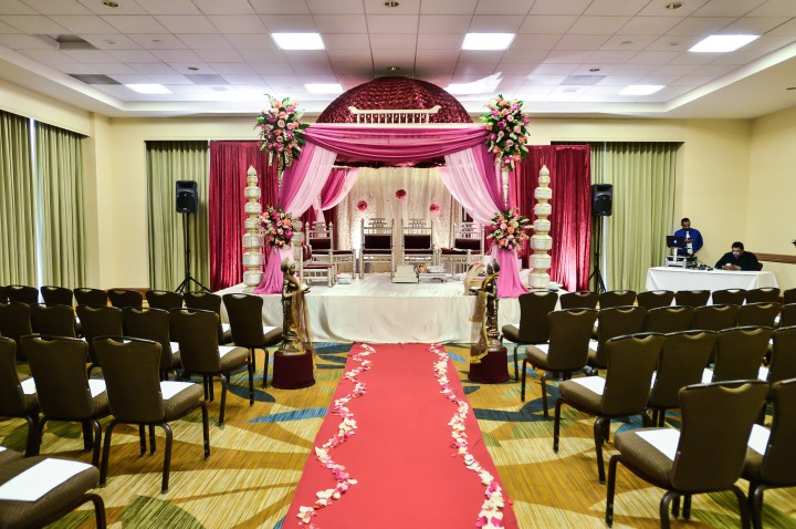 A mandap setup for an Indian, Hindu wedding ceremony