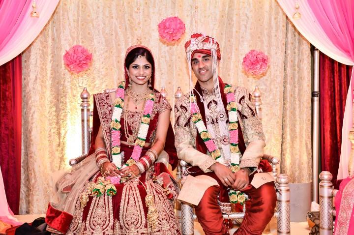 Shilpa-Utkarsh-Indian-wedding-venue-Hindu-ceremony-lehenga-sherwani-bride-groom-Hyatt-Regency-OC-mandap-sehra-varmala-jaimala