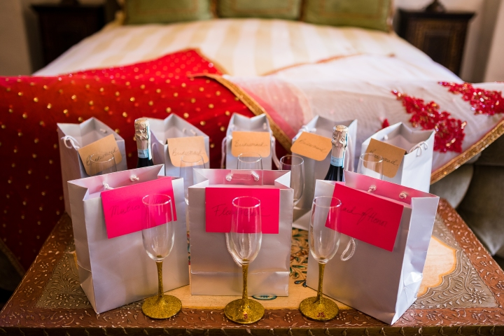Bridesmaids gifts distributed before the wedding ceremony.