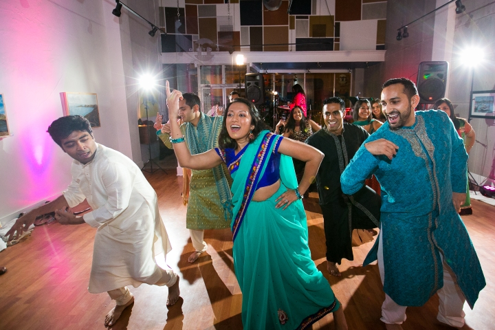 Dancing at sangeet night for Indian wedding