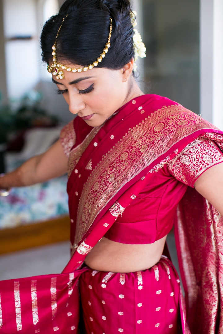 Bride getting ready for Indian wedding