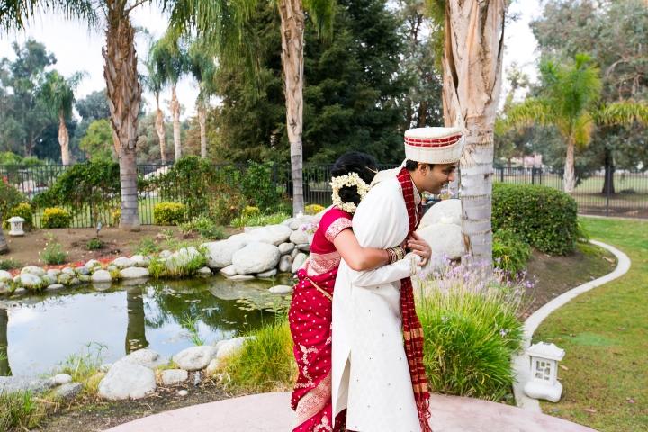 Indian wedding, Hindu wedding, bride and groom first look
