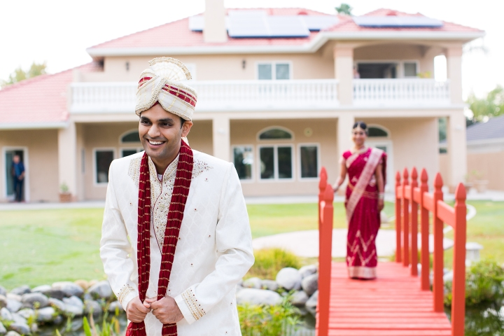 Indian wedding, Hindu wedding, bride and groom first look