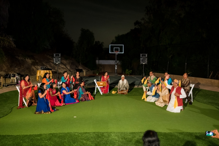 Antakshri played by uncles and aunties at the groom's family's mehndi party a few days before their Indian wedding