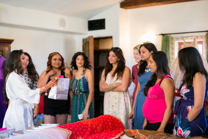 Indian bride giving gifts to her bridesmaids before her Indian, Gujarati, Hindu wedding