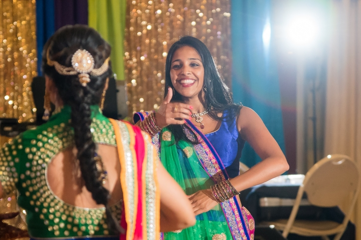 back of the bride's choli at her garba raas function