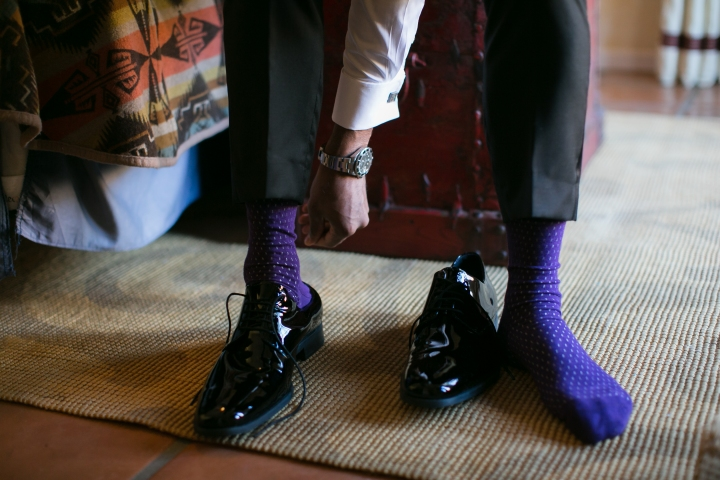 Indian groom wearing purple socks