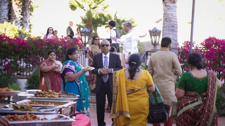 Indian wedding cocktail hour outdoors.