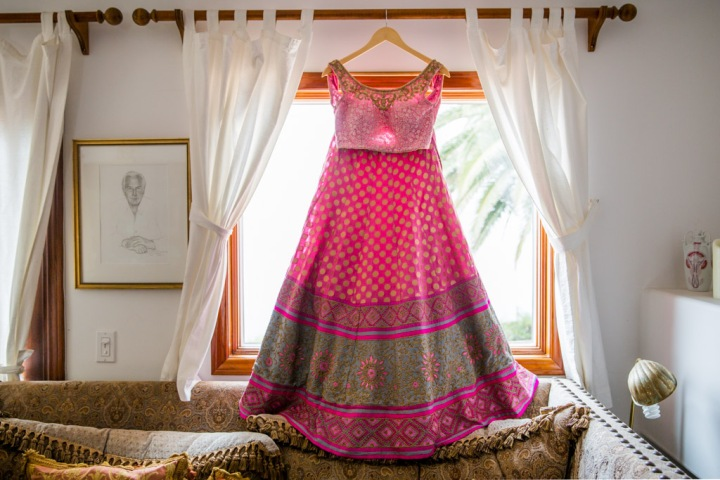 he bride's lehenga for her Indian wedding reception