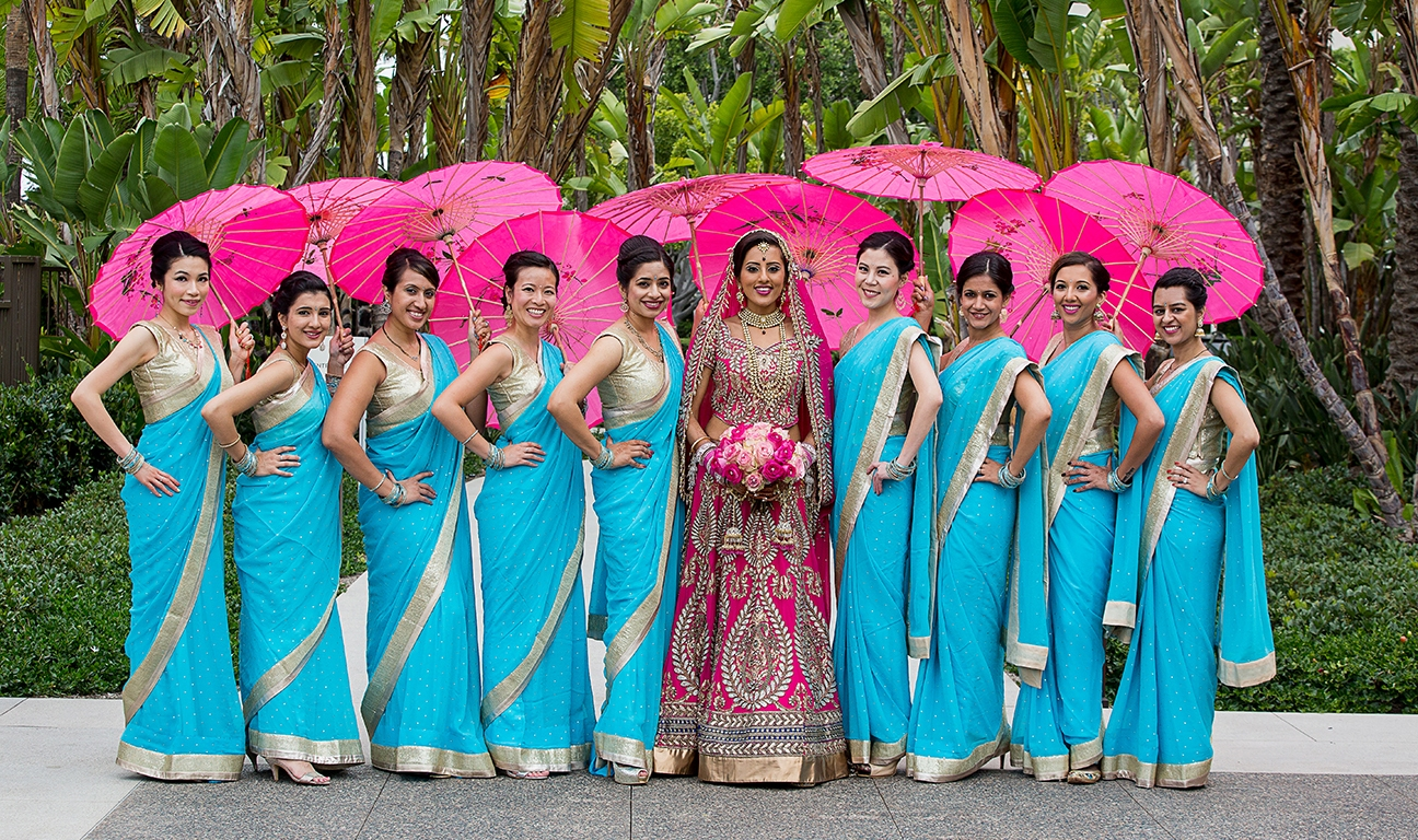 Bridesmaids Sky Blue Saris and Dupattas (Stole) – Indian Wedding ...