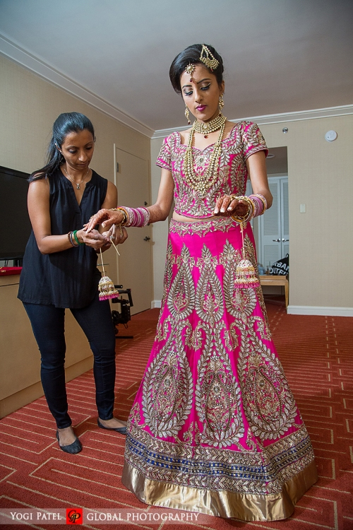 Indian-wedding-pink-lehenga-sherwani-sera-Hotel-Irvine-dupatta-Global-Photography-Kunal-Shveta-groom-dulhan-pink-lehenga