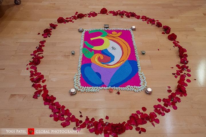 Indian-wedding-pink-lehenga-sherwani-sera-Hotel-Irvine-dupatta-Global-Photography-Kunal-Shveta-rangoli
