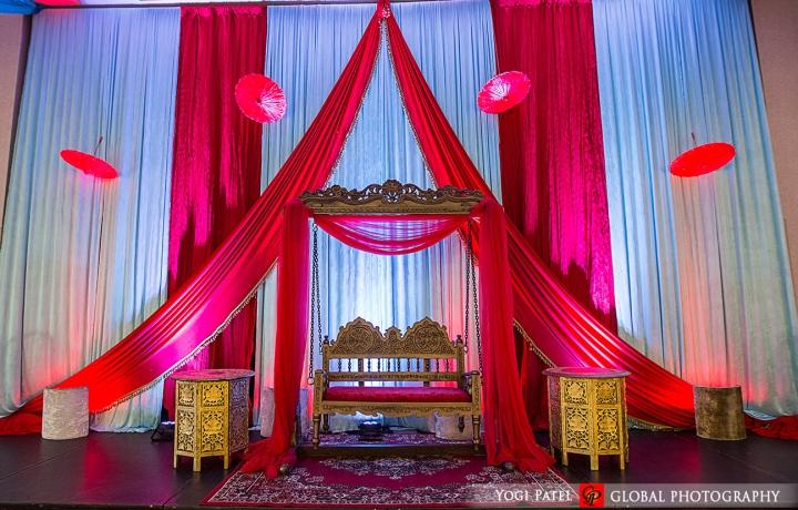 Indian-wedding-pink-lehenga-sherwani-sera-Hotel-Irvine-dupatta-Global-Photography-Kunal-Shveta-sangeet