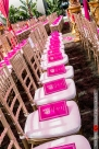 Indian wedding ceremony at Hotel Irvine. The pink program match the pink mandap.
