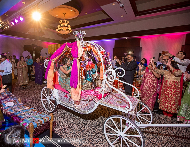 Indian-wedding-sangeet-dupatta-Global-Photography-Kunal-Shveta-Bollywood-dance-carriage-entrance-bride