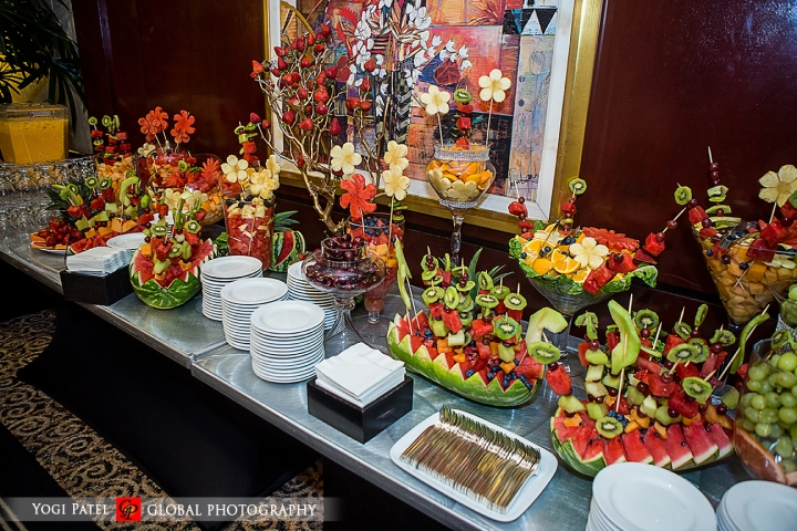 Fruit display at an Indian wedding sangeet.