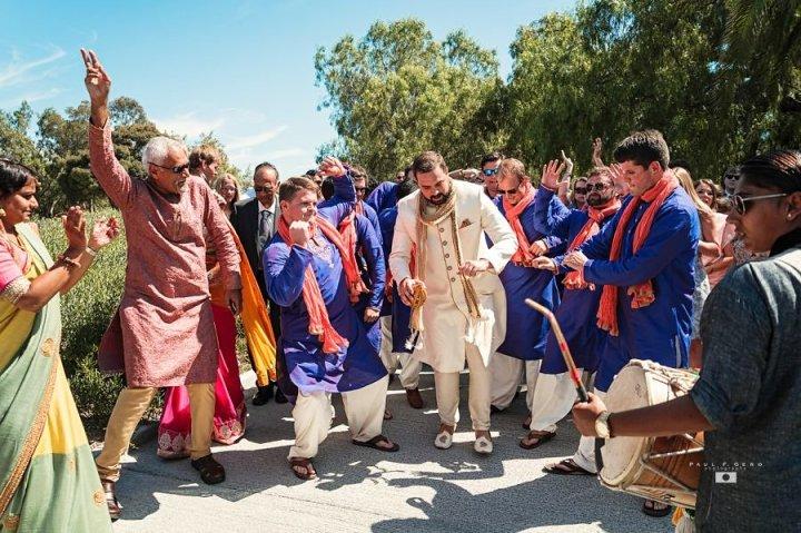 Indian-wedding-Taylor-Avni-Paul-Gero-Photography-South-Asian-wedding-baraat-horse-dulha-mobileDJ-dhol-dancing