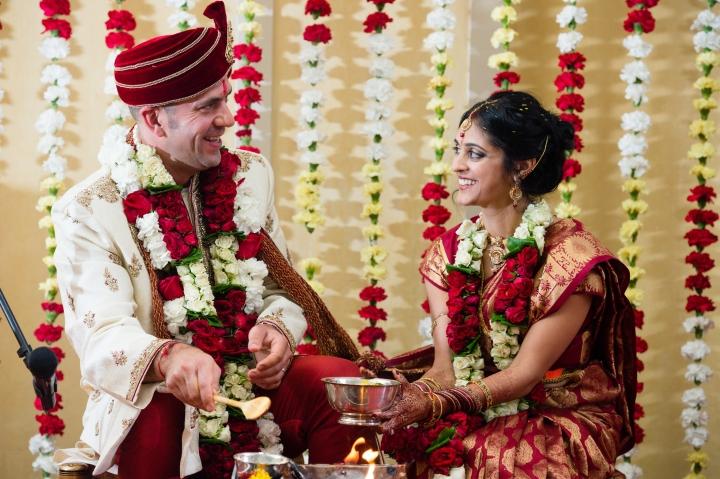 Indian, Hindu, wedding ceremony indoors.