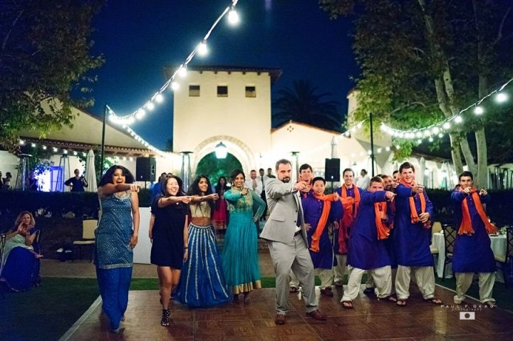 Oak-Creek-Irvine-Indian-wedding-Hindu-ceremony-reception-DJ-Nick-Datwani-outdoor-wedding-South-Asian-wedding-Bollywood-dance-Sooraj-Dooba-Hain-surprise-dupatta-kurta-bridesmaids-groomsmen-bridal-party-Avni-Taylor