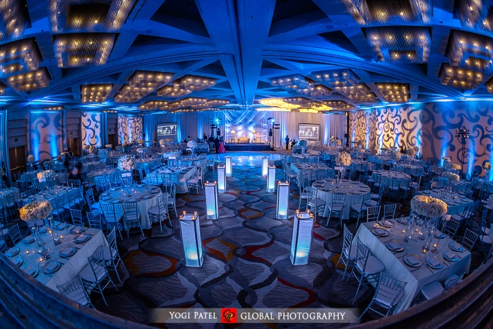 Indian wedding reception ballroom at Hotel Irvine