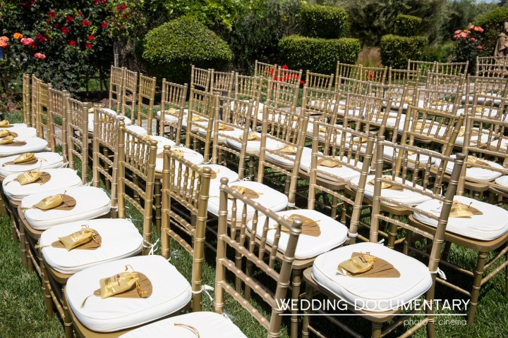 Chiavari chairs setup for an Indian, Hindu, wedding ceremony outsoors