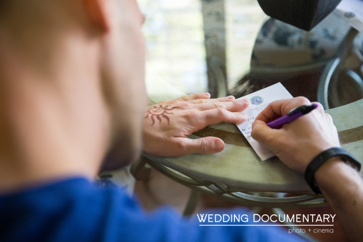 Groom writing a love note to his Indian bride
