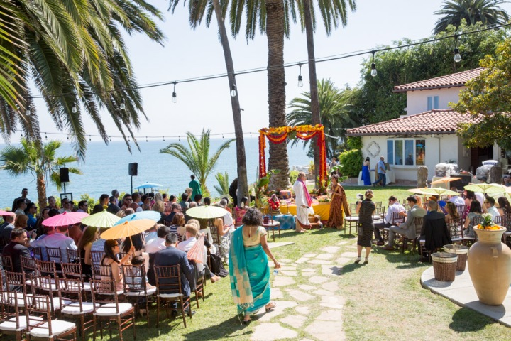 Hindu wedding ceremony outdoors in Malibu