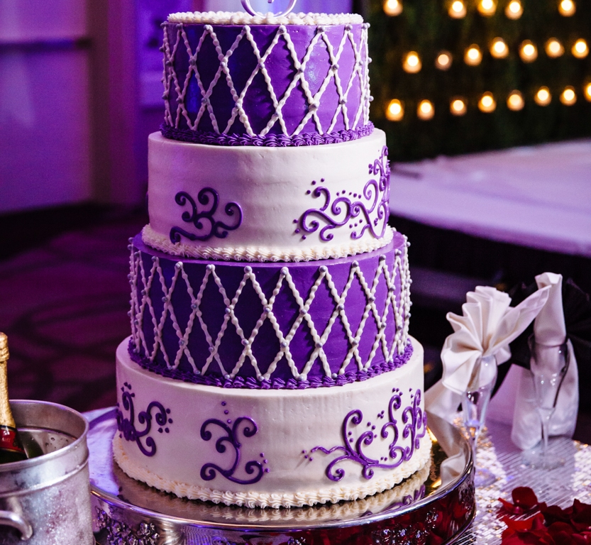Purple 4-tier wedding cake