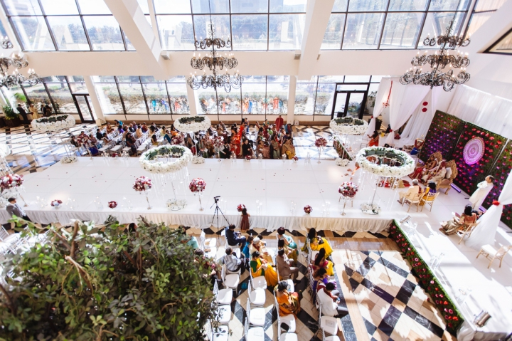 The Garden Court at a Dallas Hotel setup for an Indian, Hindu wedding ceremony.