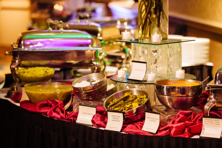 Mexican food served an a sangeet for an Indian wedding.